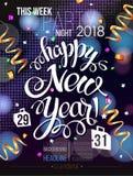 Tarjeta 2018 del cartel de la decoración de la Feliz Año Nuevo ilustración del vector