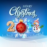 Tarjeta 2018 del cartel de la decoración de la Feliz Navidad libre illustration