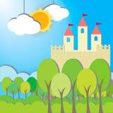 Tarjeta del castillo de la fantasía en fondo de la mañana Fotografía de archivo libre de regalías