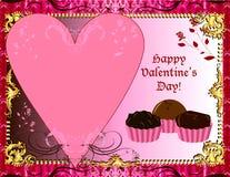 Tarjeta del chocolate de las tarjetas del día de San Valentín Imagen de archivo