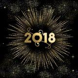 Tarjeta 2018 del cielo nocturno del fuego artificial del oro del Año Nuevo Fotografía de archivo