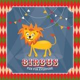 Tarjeta del circo del vintage con el león divertido lindo Imagen de archivo libre de regalías