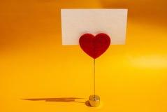 Tarjeta del clip del corazón Fotos de archivo libres de regalías