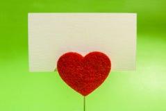 Tarjeta del clip del corazón Imagen de archivo