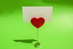 Tarjeta del clip del corazón Foto de archivo