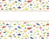 Tarjeta del color con los juguetes Fotografía de archivo libre de regalías