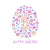 Tarjeta del concepto de Pascua. Fondo brillante del día de fiesta hecho de ángel, de flores, de pájaros y de corazones Imagen de archivo