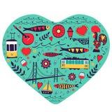Tarjeta del concepto del viaje Ejemplo del amor para ilustración del vector