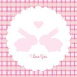 Tarjeta del conejito de las tarjetas del día de San Valentín Imagen de archivo libre de regalías