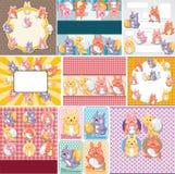 Tarjeta del conejo y del huevo de Pascua Imagenes de archivo