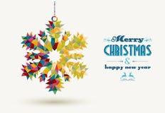 Tarjeta del copo de nieve del triángulo de los días de fiesta de la Navidad Fotografía de archivo
