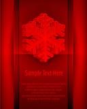 Tarjeta del copo de nieve en rojo Fotografía de archivo