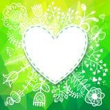 Tarjeta del corazón de la primavera con la flor. El ejemplo del vector, puede ser utilizado Foto de archivo