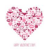 Tarjeta del corazón de los iconos del mosaico del día de tarjetas del día de San Valentín Fotografía de archivo libre de regalías