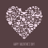 Tarjeta del corazón de los iconos del mosaico del día de tarjetas del día de San Valentín Foto de archivo libre de regalías