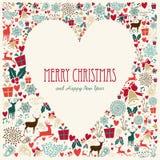 Tarjeta del corazón del amor de la Feliz Navidad del vintage Fotografía de archivo libre de regalías