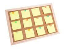 Tarjeta del corcho con las notas en blanco Fotografía de archivo