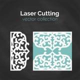 Tarjeta del corte del laser Plantilla para cortar Ejemplo del recorte Imagen de archivo