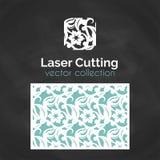 Tarjeta del corte del laser Plantilla para el corte del laser Ejemplo del recorte con la decoración abstracta Cortado con tintas  Foto de archivo