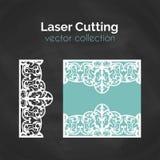 Tarjeta del corte del laser Plantilla para el corte del laser Ejemplo del recorte con la decoración abstracta Cortado con tintas  Imágenes de archivo libres de regalías