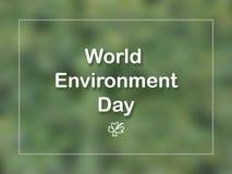 Tarjeta del día del ambiente mundial con la hoja y marco en fondo verde imágenes de archivo libres de regalías