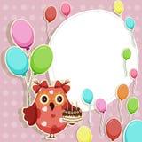 Tarjeta del día de fiesta con el búho colorido Imagen de archivo
