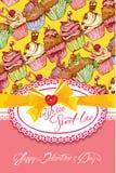 Tarjeta del día de fiesta con el fondo dulce adornado de las magdalenas, fram del cordón Imagen de archivo libre de regalías