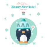 Tarjeta del día de fiesta con el pingüino en plano ilustración del vector
