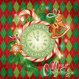 Tarjeta del día de fiesta con el reloj, caramelo, pan de jengibre de Navidad Foto de archivo