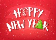 Tarjeta del día de fiesta con Feliz Año Nuevo del texto, el árbol de navidad y los bastones de caramelo en fondo rojo Vector stock de ilustración