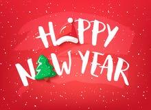 Tarjeta del día de fiesta con Feliz Año Nuevo del texto, el árbol de navidad y el sombrero de Papá Noel en fondo rojo Vector ilustración del vector