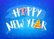 Tarjeta del día de fiesta con Feliz Año Nuevo del texto, el pan de jengibre y los bastones de caramelo en fondo azul Vector ilustración del vector