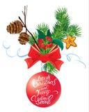 Tarjeta del día de fiesta con la cinta y el arco, cono y rama, holl del árbol de abeto Imagenes de archivo