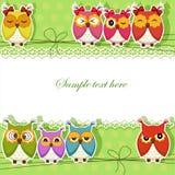 Tarjeta del día de fiesta con los búhos coloridos Imagenes de archivo
