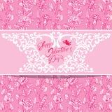 Tarjeta del día de fiesta con los elementos florales, flores, ángel, corazón, marco, Fotos de archivo libres de regalías