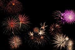 Tarjeta del día de fiesta con los fuegos artificiales Imágenes de archivo libres de regalías