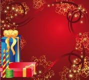 Tarjeta del día de fiesta con los regalos Fotografía de archivo libre de regalías