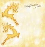 Tarjeta del día de fiesta de la Navidad, fondo, reno Foto de archivo libre de regalías