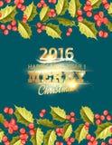 Tarjeta del día de fiesta del muérdago de la Navidad con el texto Imagen de archivo