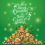 Tarjeta del día de fiesta del saludo del pan de jengibre de Navidad Imagen de archivo libre de regalías