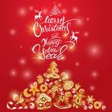 Tarjeta del día de fiesta del saludo del pan de jengibre de Navidad Imagen de archivo