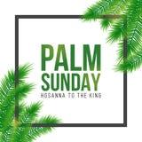 Tarjeta del día de fiesta de Domingo de Ramos, cartel con la frontera de las hojas de palma, marco Fondo del vector stock de ilustración