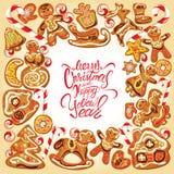 Tarjeta del día de fiesta Frontera con el pan de jengibre de Navidad Fotos de archivo libres de regalías