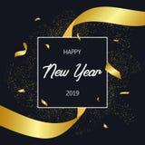 Tarjeta del día de fiesta de la Feliz Año Nuevo 2019 con confeti del oro y la raya de oro Bandera de la celebración, cartel con e Foto de archivo