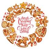 Tarjeta del día de fiesta Marco redondo con el pan de jengibre de Navidad en pizca Fotos de archivo libres de regalías