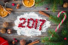 Tarjeta del día de fiesta por la Navidad o el Año Nuevo 2017 Imagen de archivo