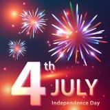 Tarjeta del Día de la Independencia con los fuegos artificiales Imágenes de archivo libres de regalías