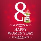 Tarjeta del día de las mujeres con el regalo y el ramo de tulipanes 8 de marzo Tarjeta de felicitación, bandera, cartel, invitaci ilustración del vector