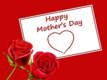 Tarjeta del día de madre con las rosas y el corazón Fotografía de archivo libre de regalías