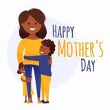 Tarjeta del día de madre con los niños stock de ilustración